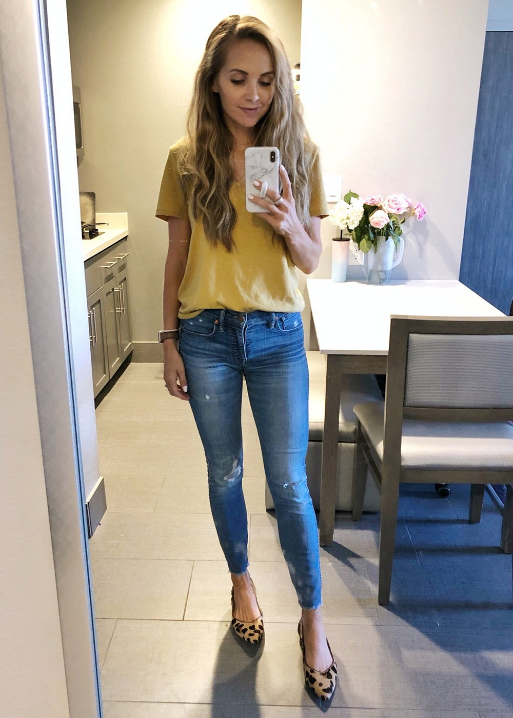 mustard vneck tee and jeans - instagram outfit