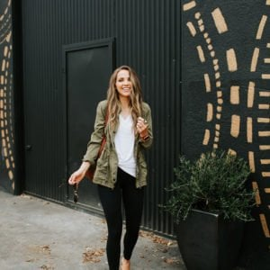 olive green jacket, leggings, mule flats
