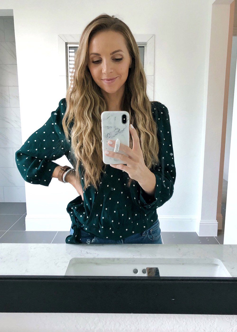 polk dot wrap top - instagram outfit