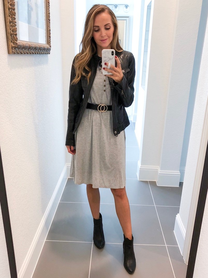 Merrick White Anywhere Dress Gray Leather Jacket