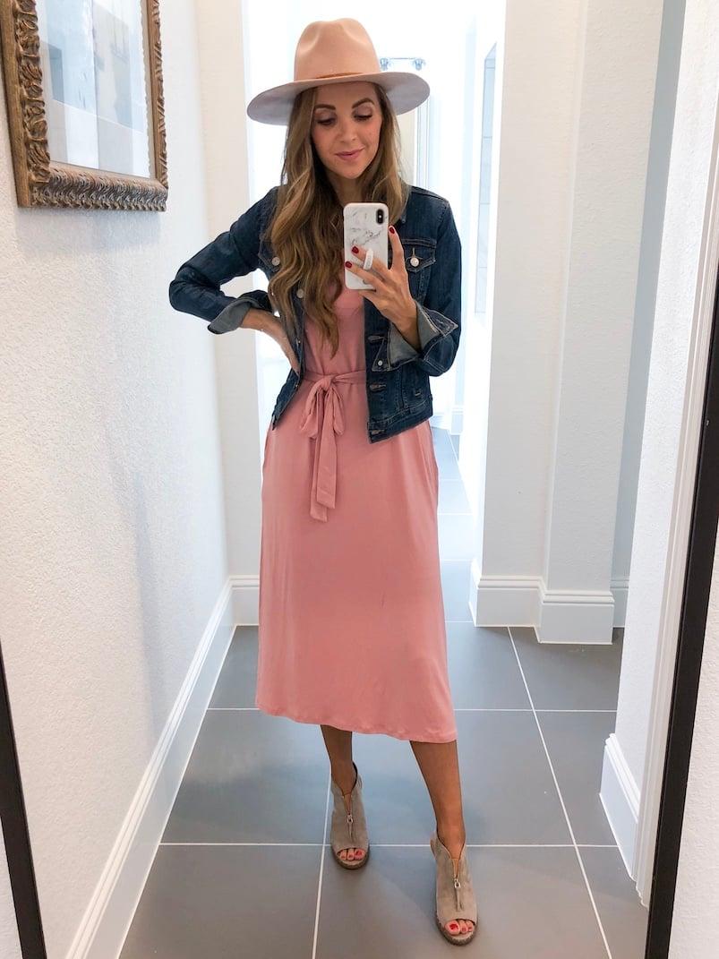 Merrick White Anywhere Dress Pink dress with denim jacket