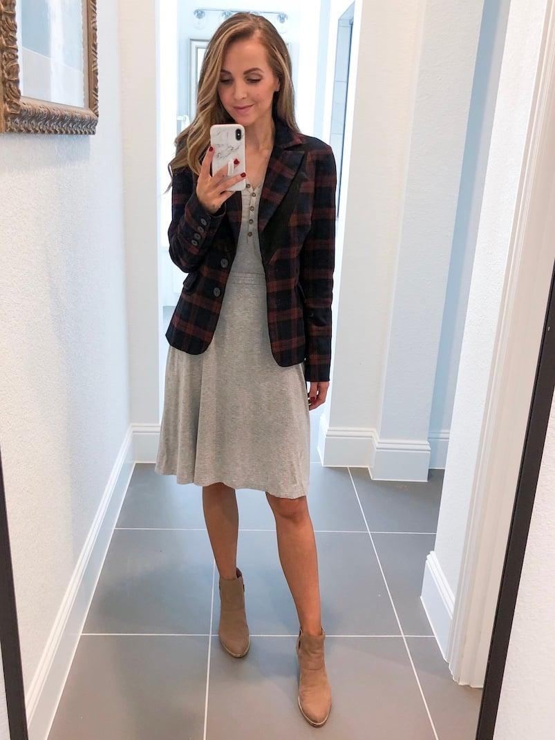 Merrick White Anywhere Dress Plaid Blazer Gray dress