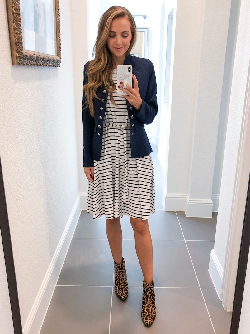 Merrick White Anywhere Dress Striped with Blazer and leopard booties