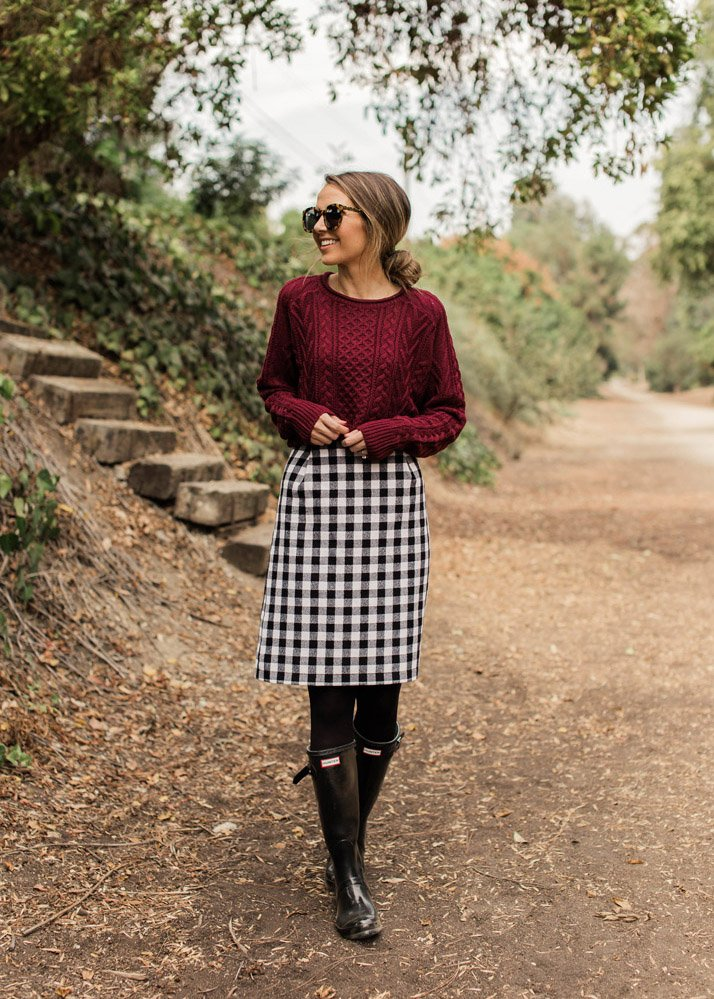 sweater with tall boots