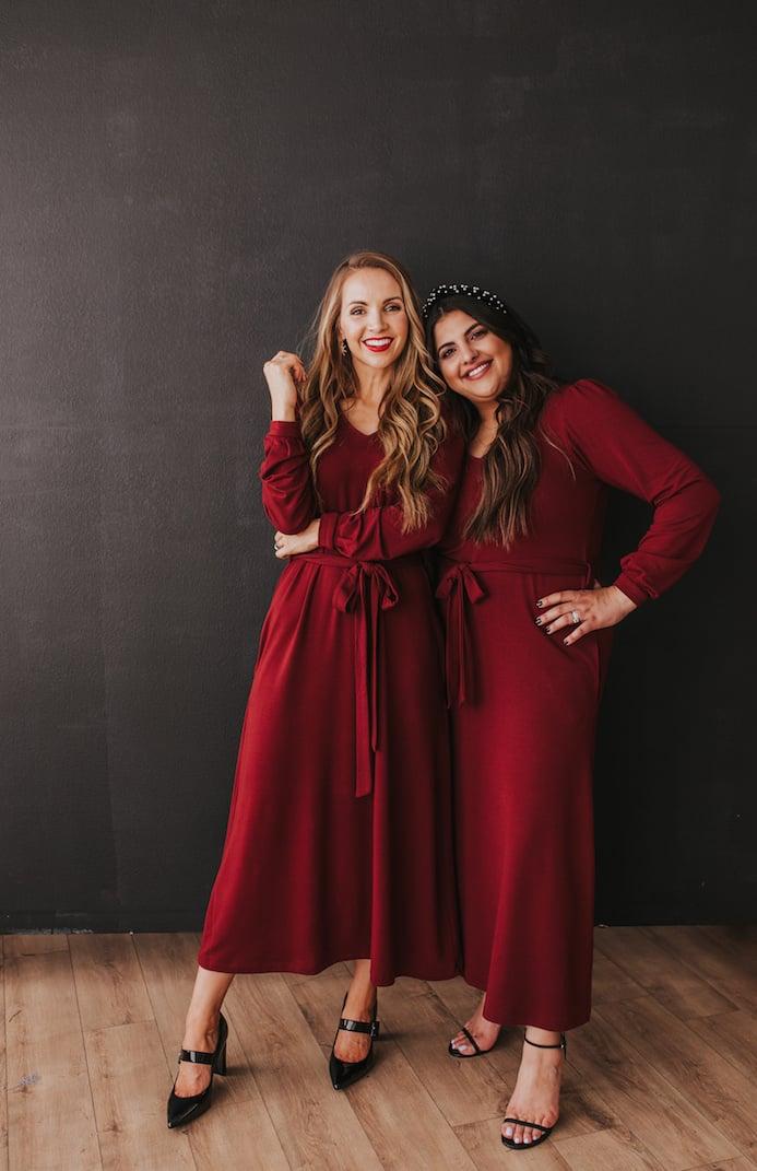 girls black background dark red dresses