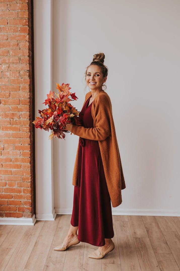 caramel cardigan with dark red midi dress