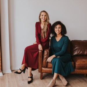 Girls on brown leather couch dark red midi dress teal midi dress