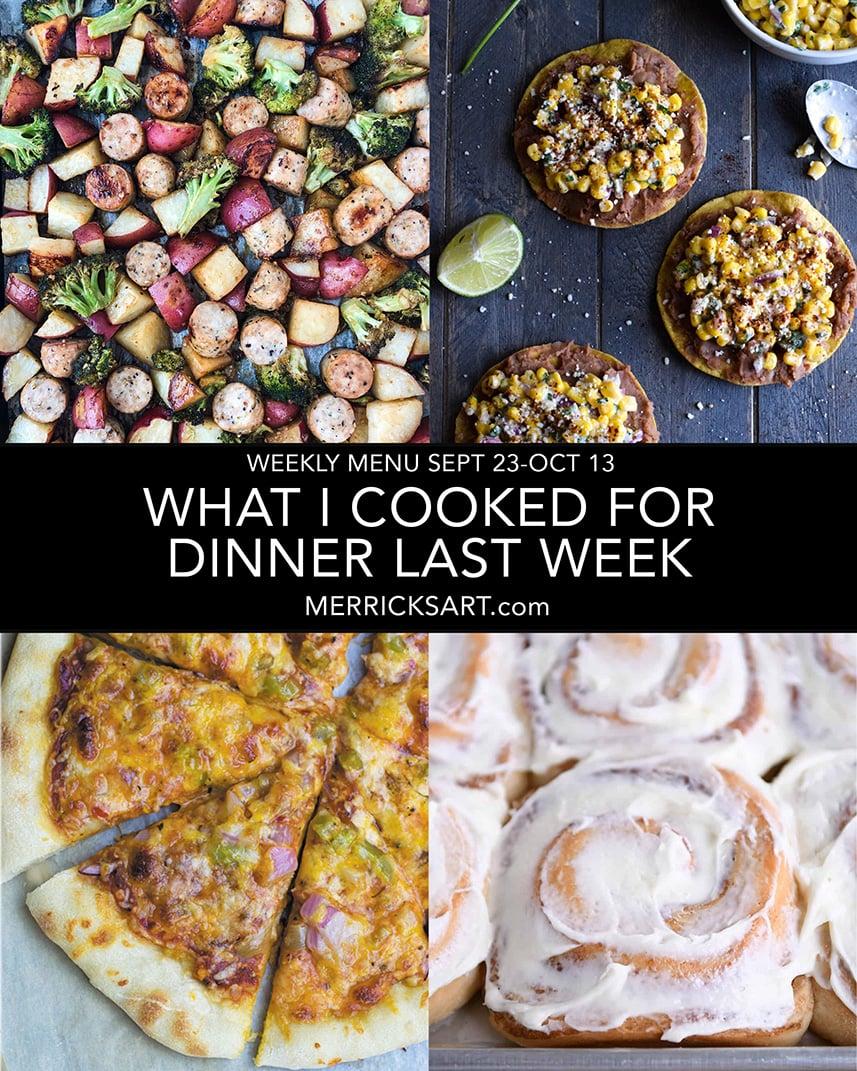 recipe weekly menu collage