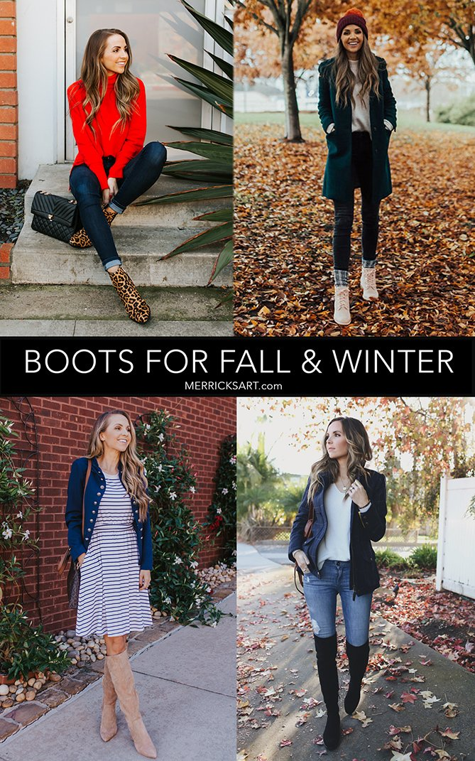 collage four different kinds of boots-suede boots over the knee boots cold weather lace up boots leopard ankle boots