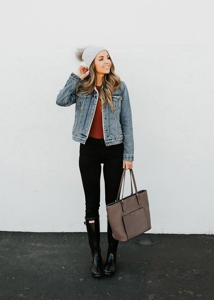 cute outfits with black jeans - levi's sherpa jacket