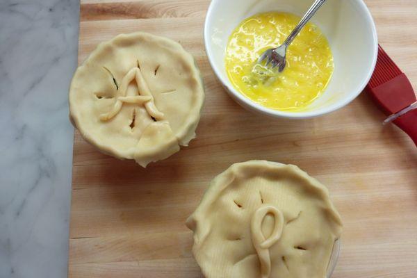 monogrammed mini chicken pot pie