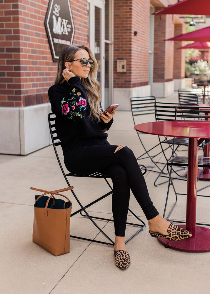 Cute outfits with black jeans - embroidered sweater and black jeans with leopard loafers