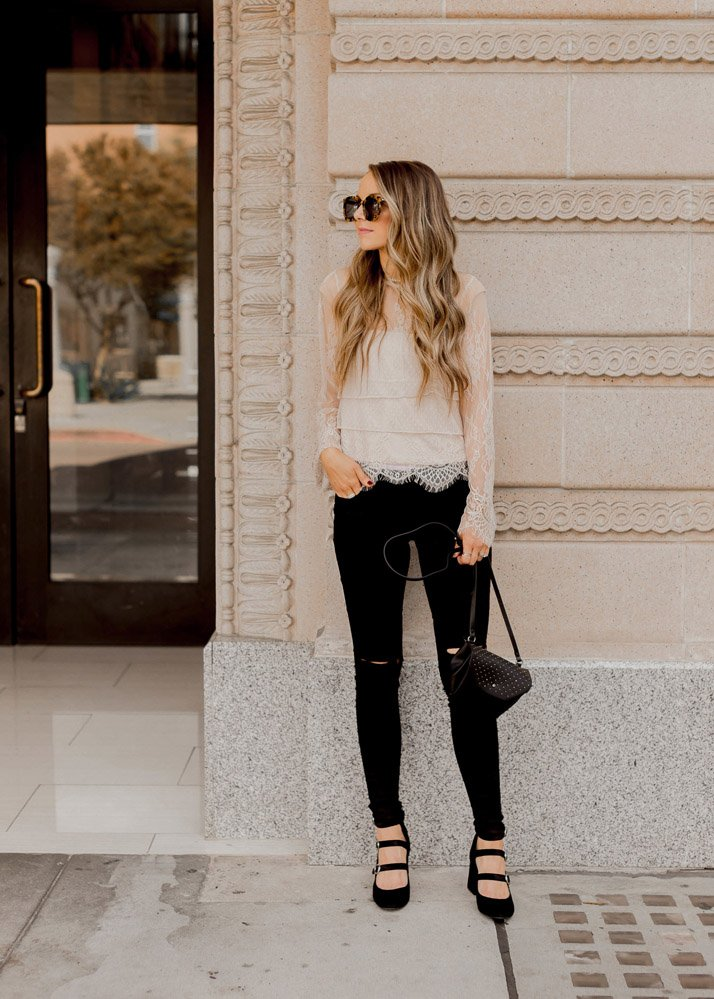 Cute outfits with black jeans - lace top and black jeans