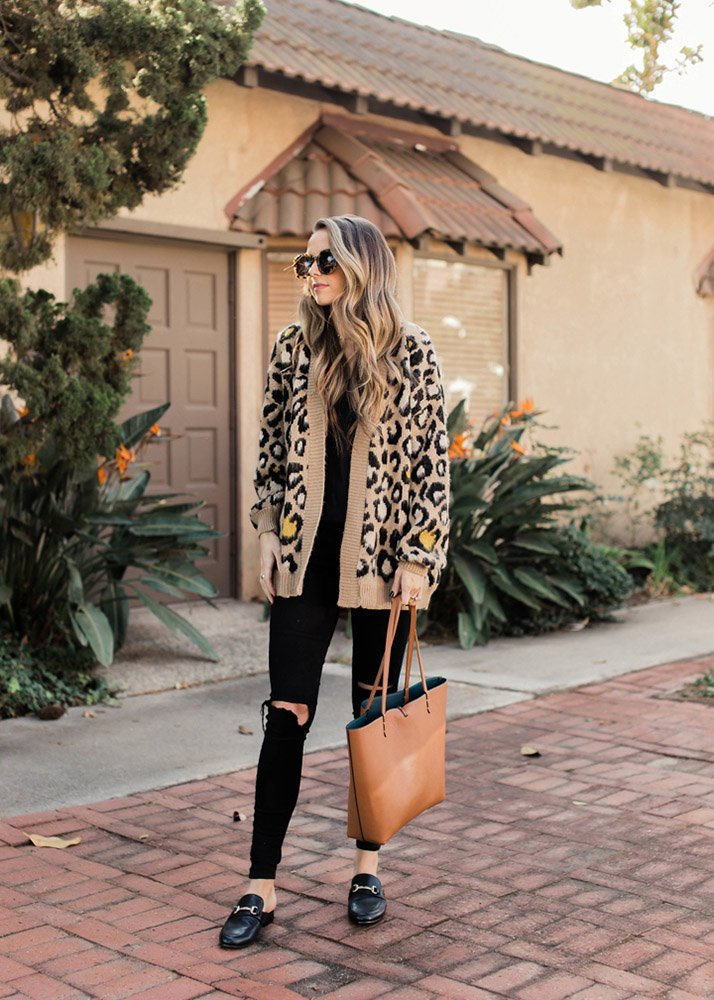 leopard cardigan and black jeans
