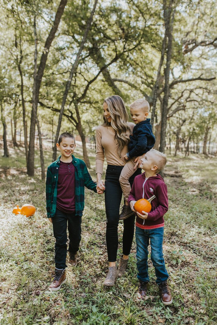 pumpkin patch mom and boys