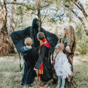 harry potter costumes for a family of five in the woods
