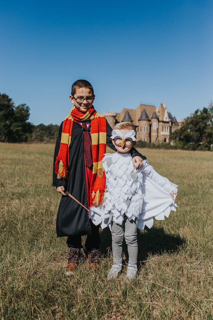 two little boys in harry potter costumes