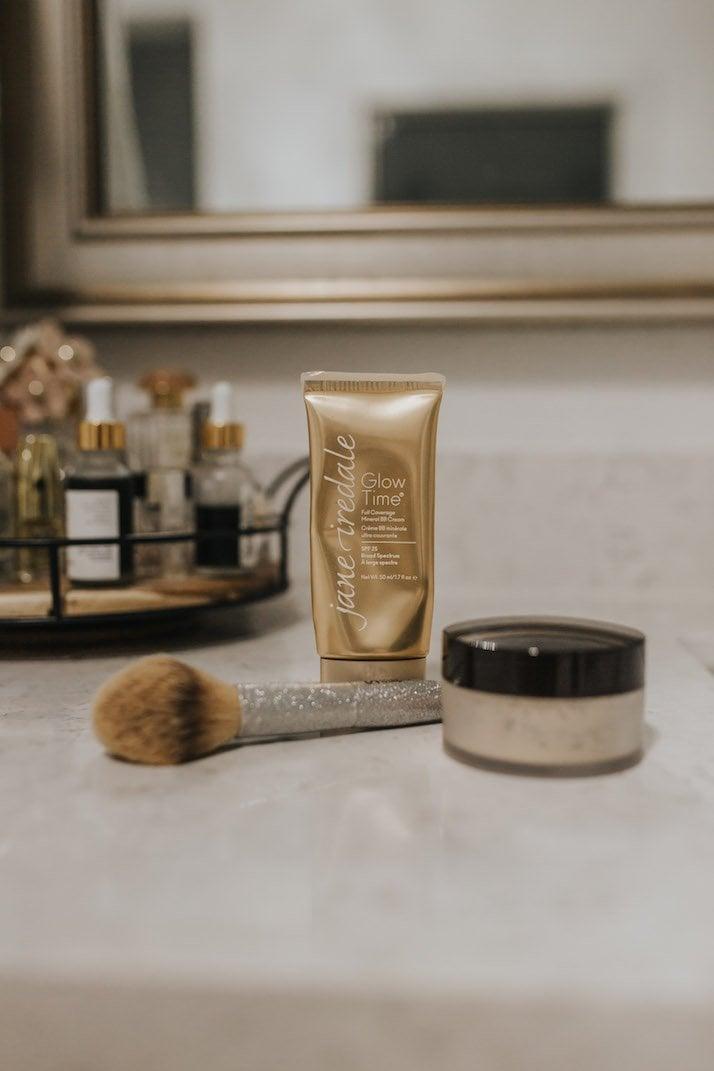 Makeup brush and Jane iredale BB cream BB6