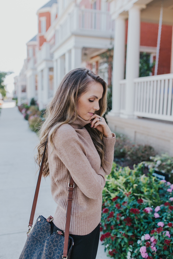camel turtleneck sweater merricksart