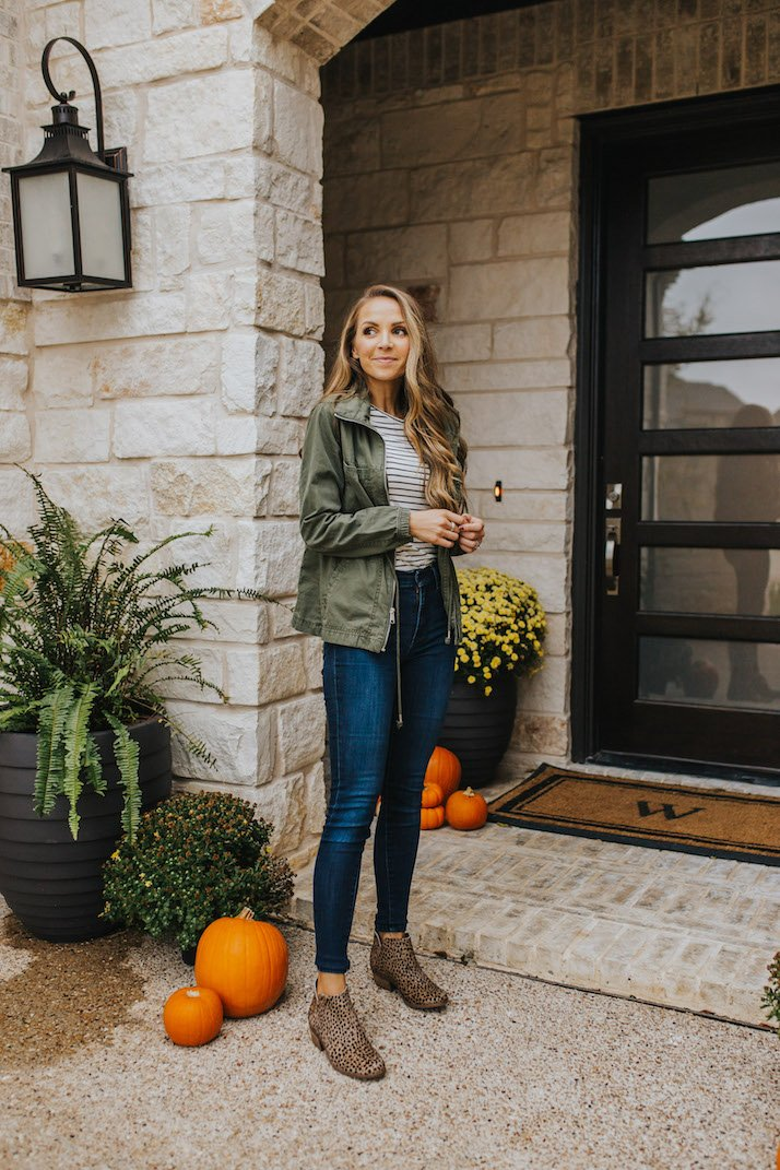 olive jacket striped tee and leopard booties