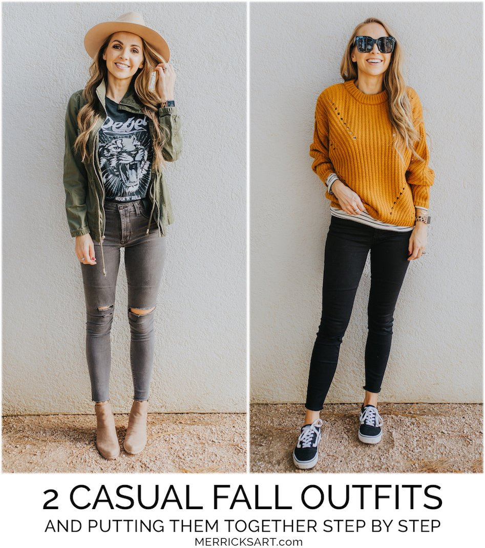 learn how to put together these two simple fall outfits