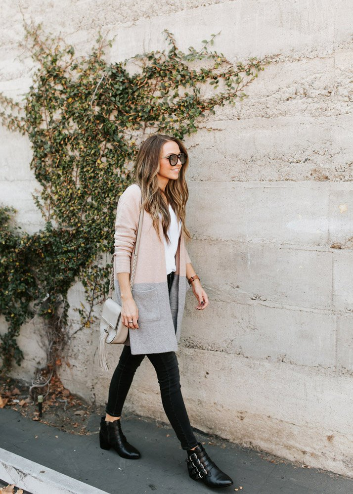 two toned cardigan and black jeans