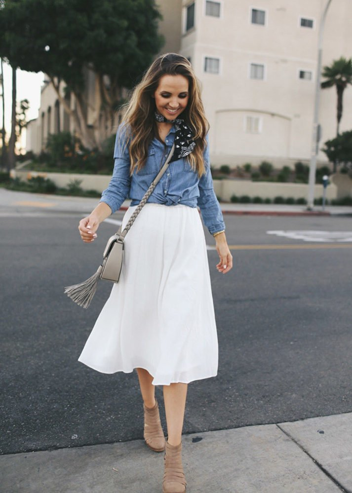 merricksart white skirt with chambray button down shirt and scarf
