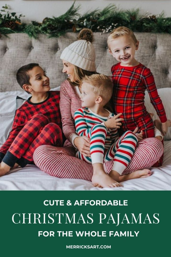 mom and boys on the bed in christmas pajamas