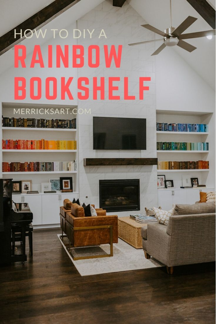 rainbow bookshelf with fireplace and living room