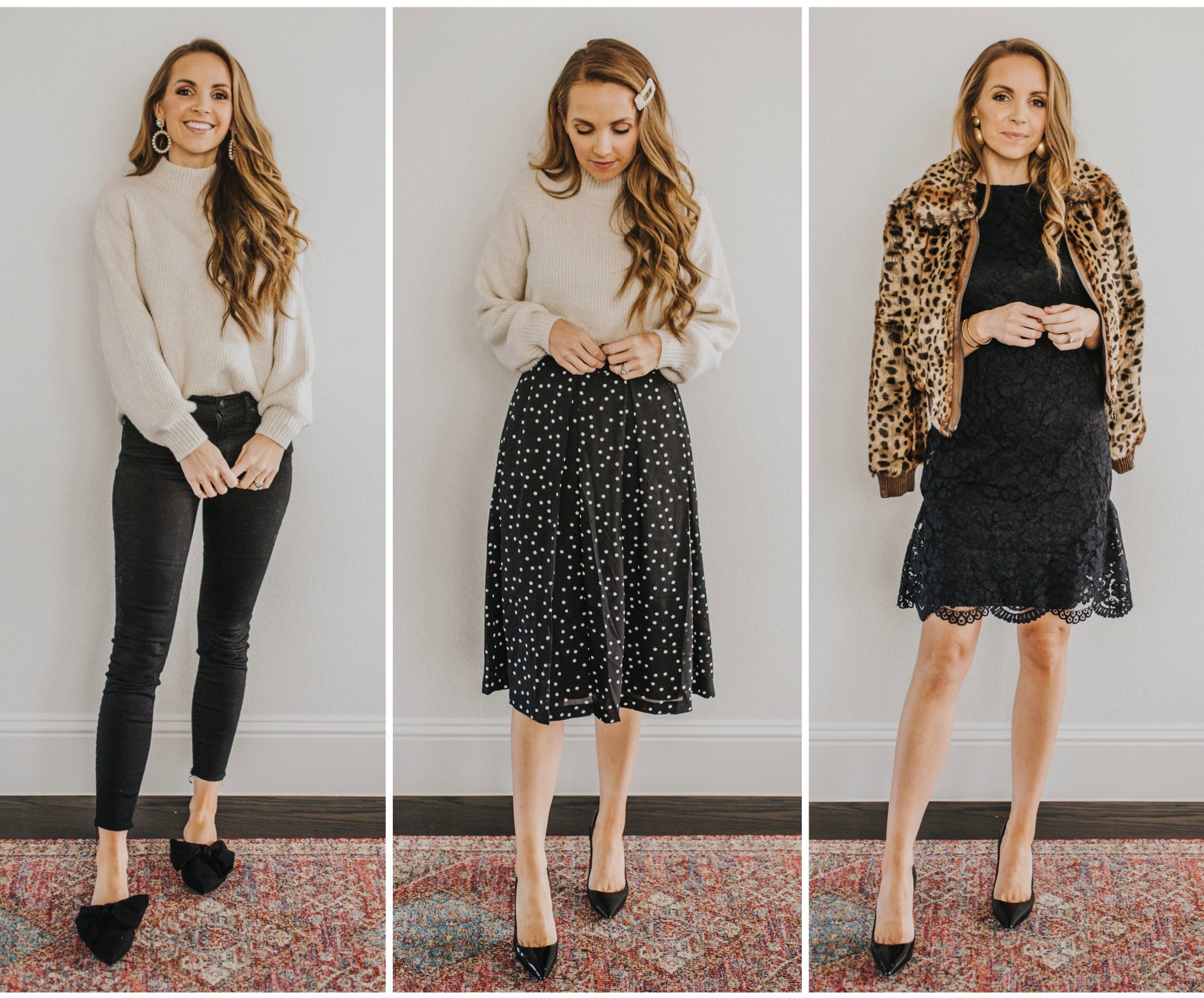 three holiday outfits white black and leopard