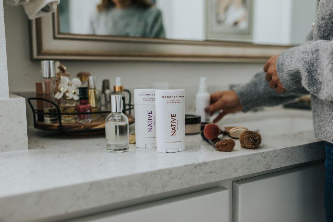 native deodorant in bathroom with marble countertops