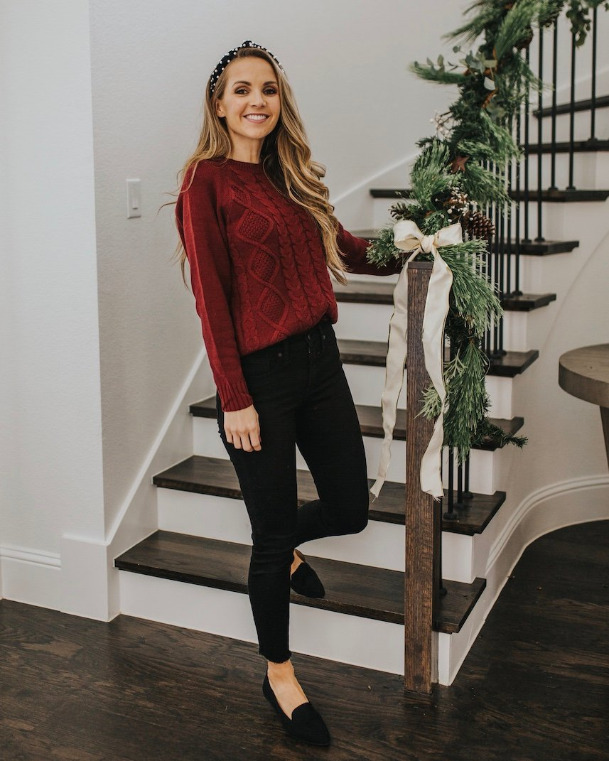 cute outfits with black jeans - maroon sweater