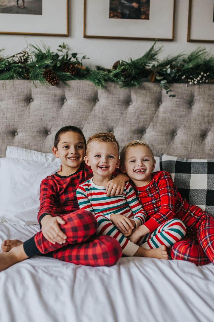 boys in christmas pajamas plaid and striped