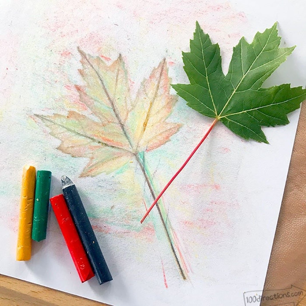 leaf rubbing image with crayons