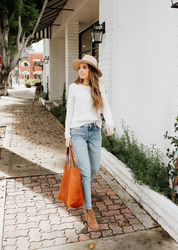 madewell leather tote bag tan fedora hat