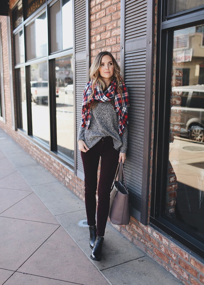 scarf and dark sweater plaid scarf