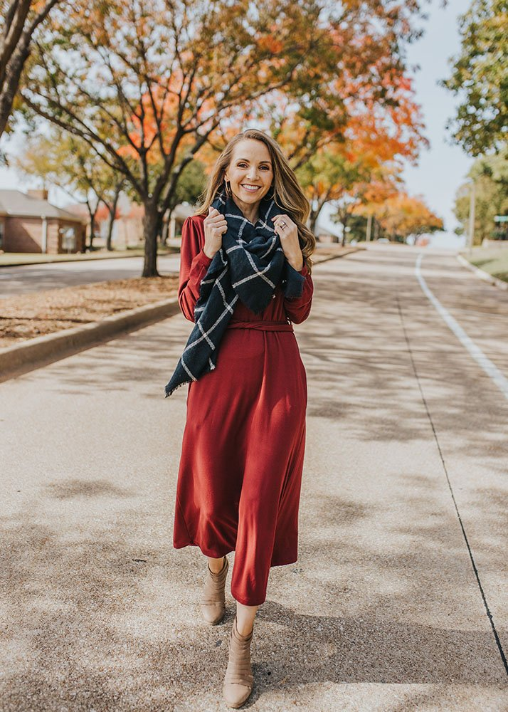 blanker scarf and midi dress