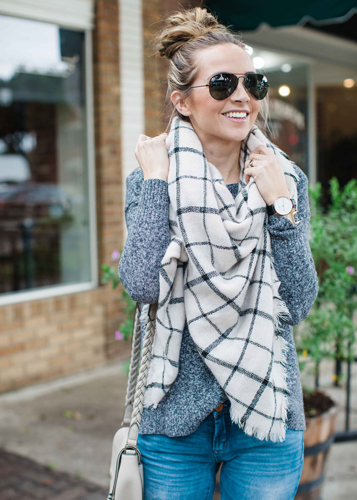 white plaid scarf and sunglasses