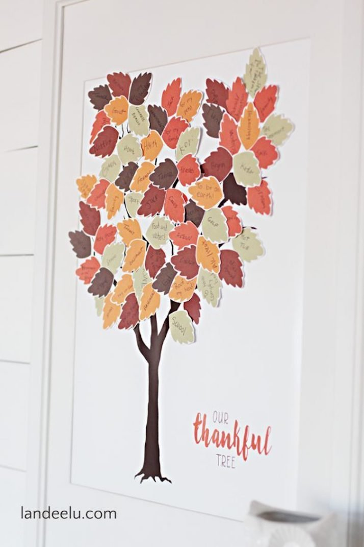 paper thankful tree in a frame