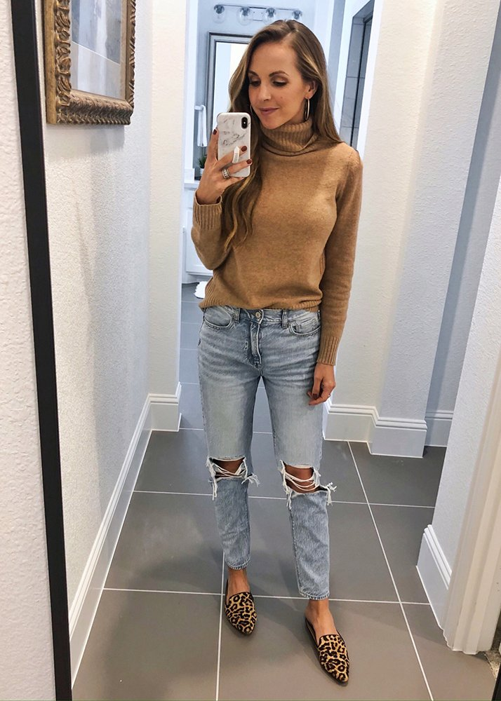 turtleneck sweater and jeans