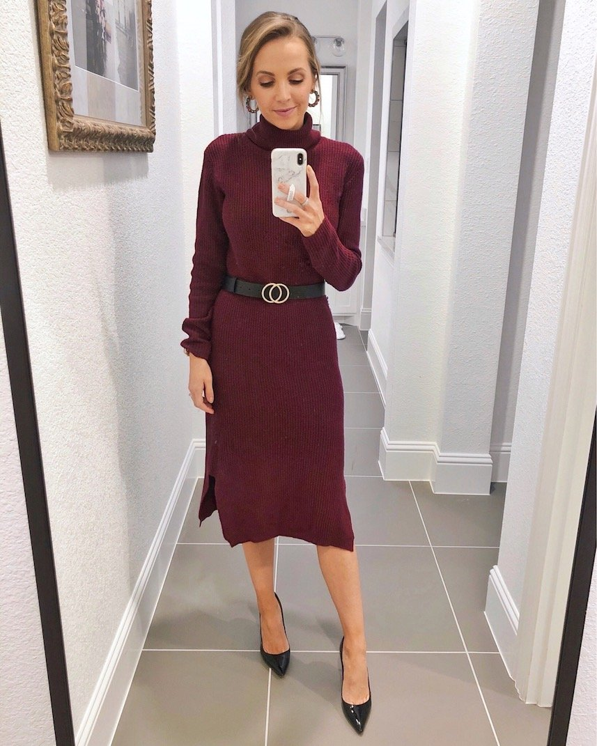 maroon turtleneck sweater dress