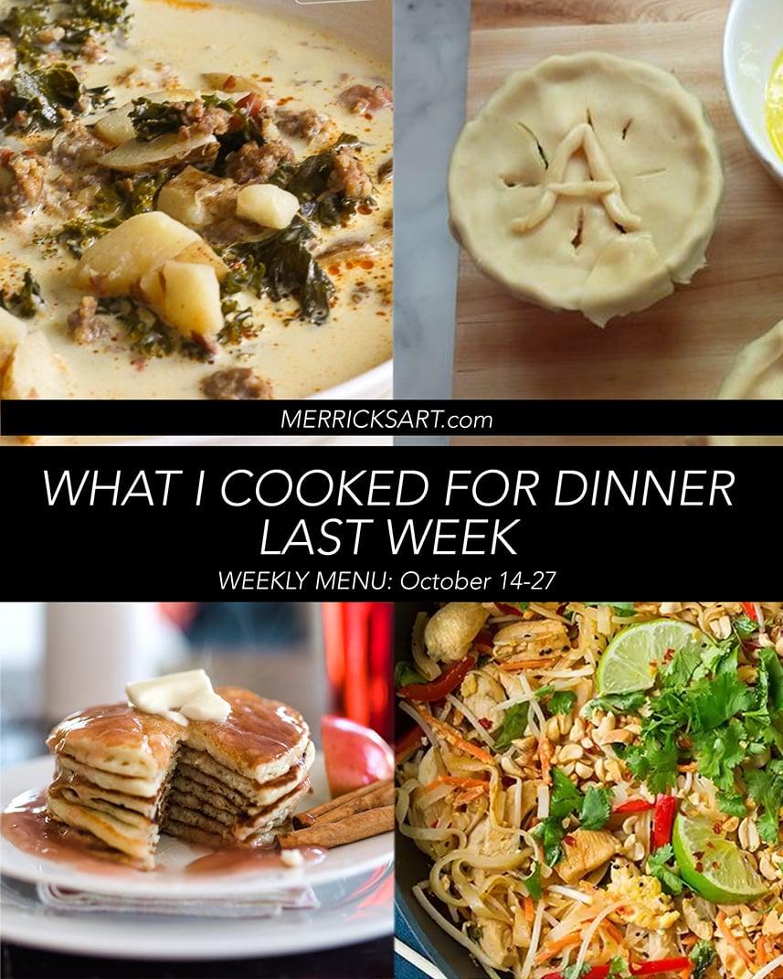 collage of recipes weekly menu
