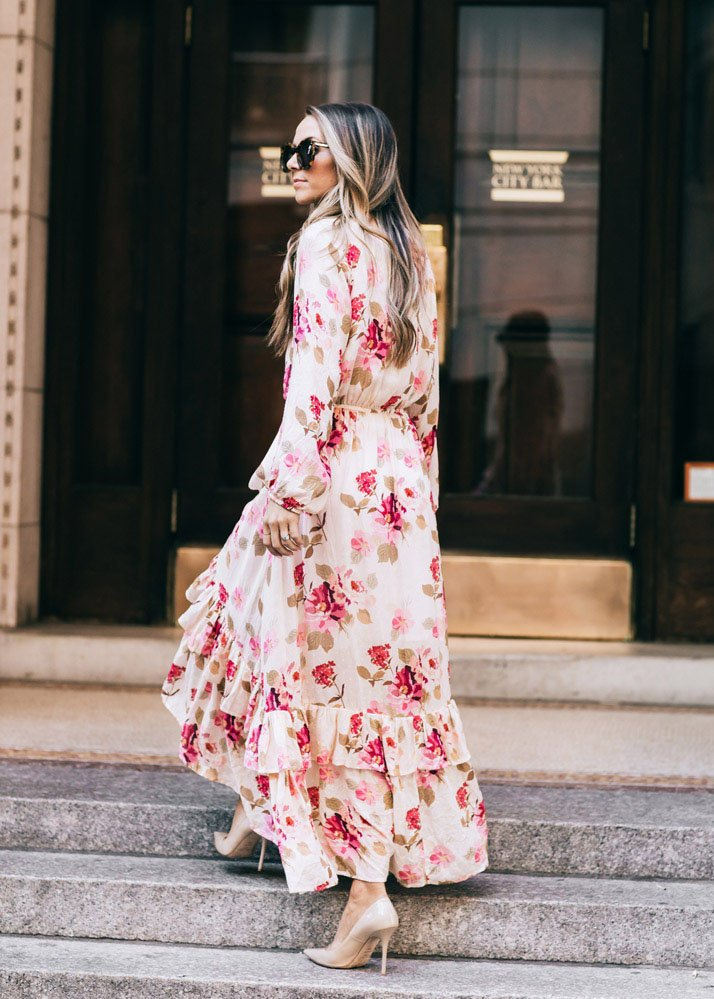 Maxi floral dress and nude pumps