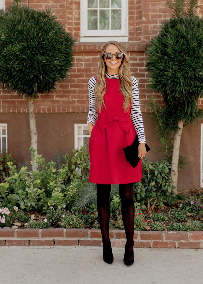 Layering shirts - Striped turtleneck layered under red dress