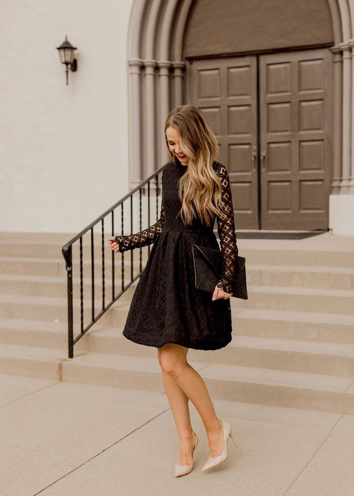 Black lace dress and nude leather pumps
