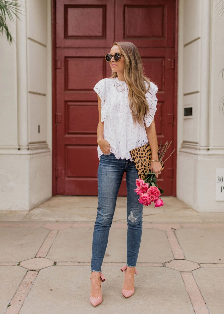 Pink bow heels and jeans