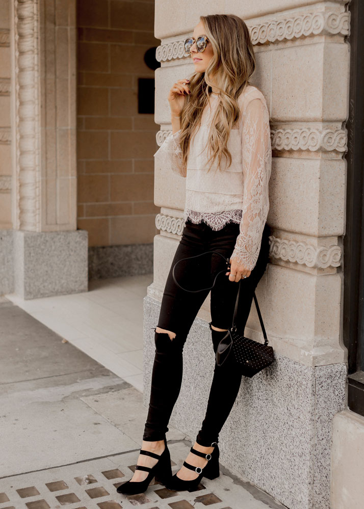 Lace top and black jeans