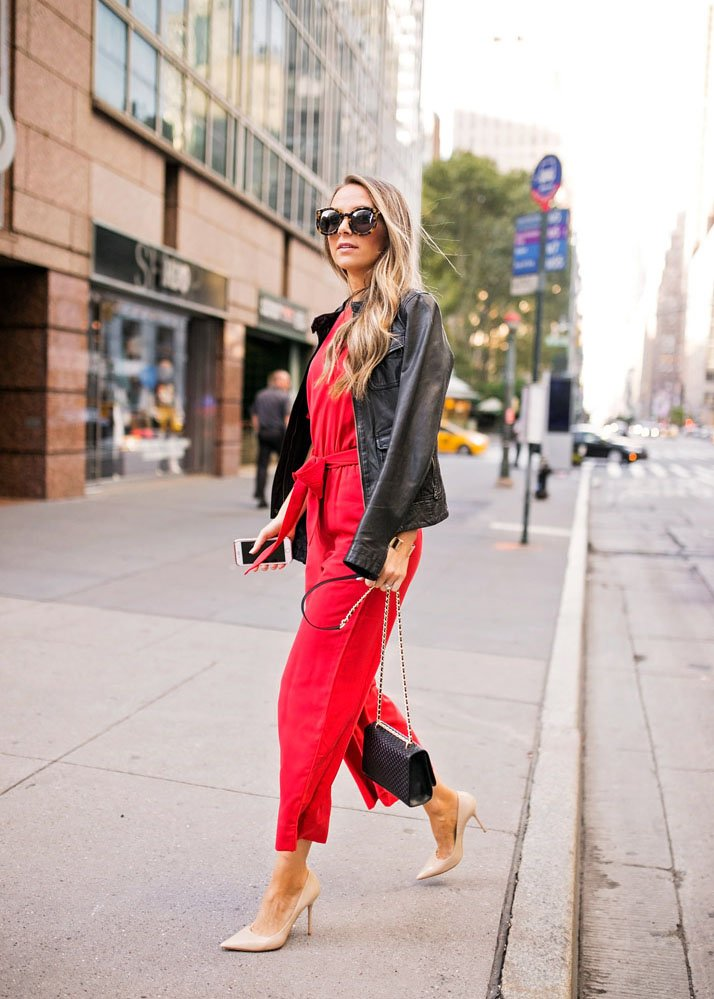 red jumpsuit and leather jacket
