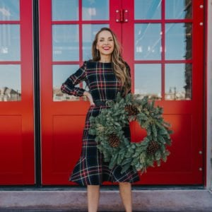 plaid dress with wreath and red doors