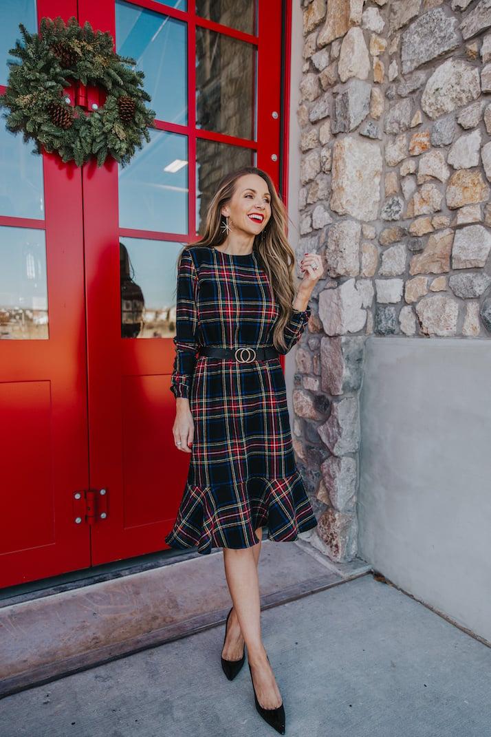 christmas dress with plaid fabric